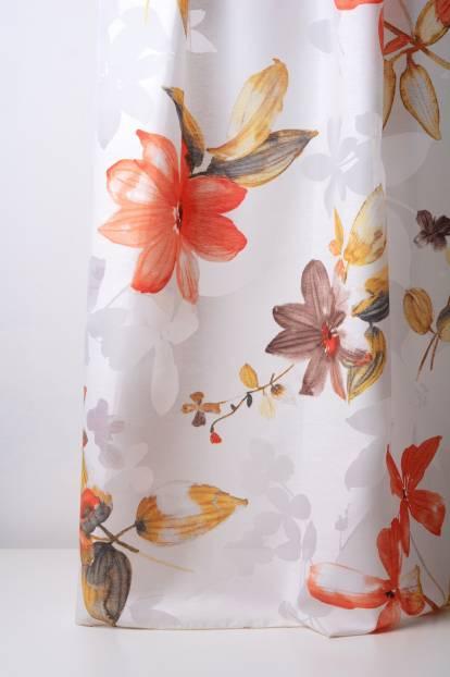 бяла основа с оранжеви цветя, Zanzibar-Devore 60 orange