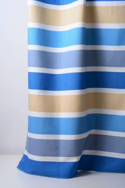 Плътна завеса на райета в синьо, бежово и светлосиньо