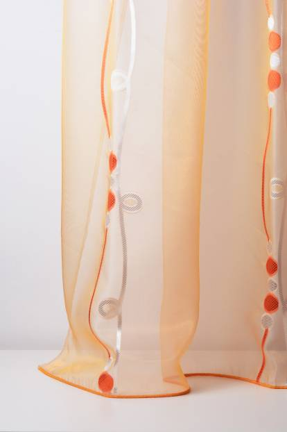 Ефирно прозрачно перде от полиестер с фигура и лъскава нишка