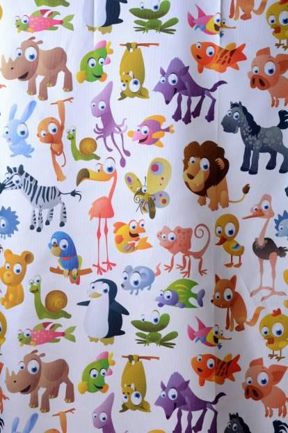 Плътна завеса с животни, детско перде , Digital Hugo