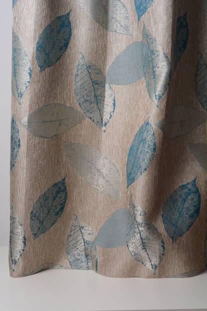 Плътна жакардова завеса с втъкани листа