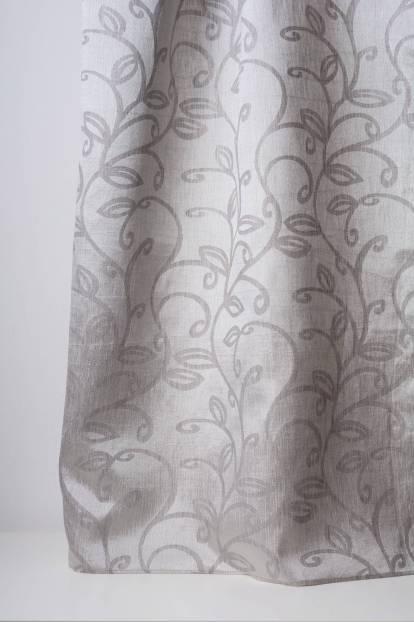 Плътна мека завеса с орнаменти в сиво