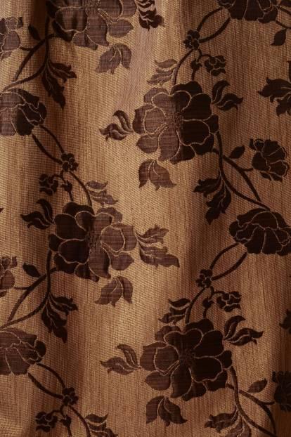 Плътна завеса с цветя, златно и кафяво, 34159/001