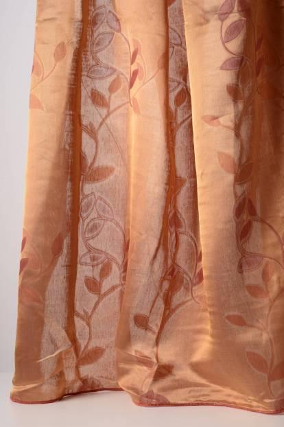 Полупрозрачна завеса в керемидено червено с флорални орнаменти