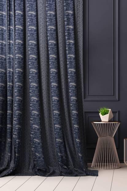 Плътна ленена завеса с шарка