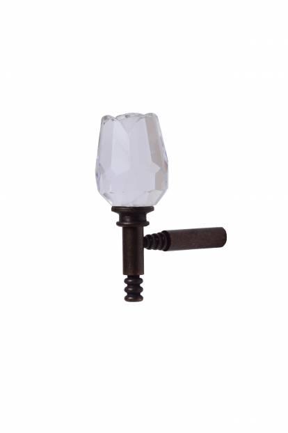 Държач за завеса тип кука - кристална глава във формата на лале, малък
