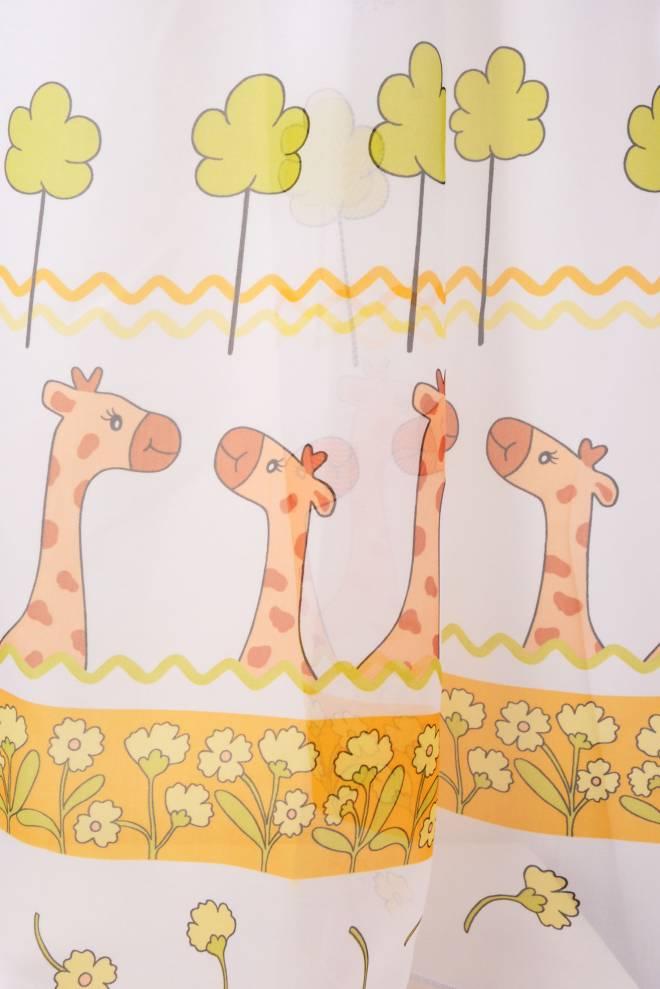 Воал с жирафи, цветя и калинки, детско перде
