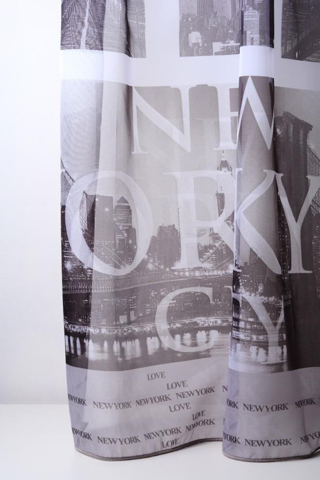 Полупрозрачно черно-бяло с щампа на Ню Йорк