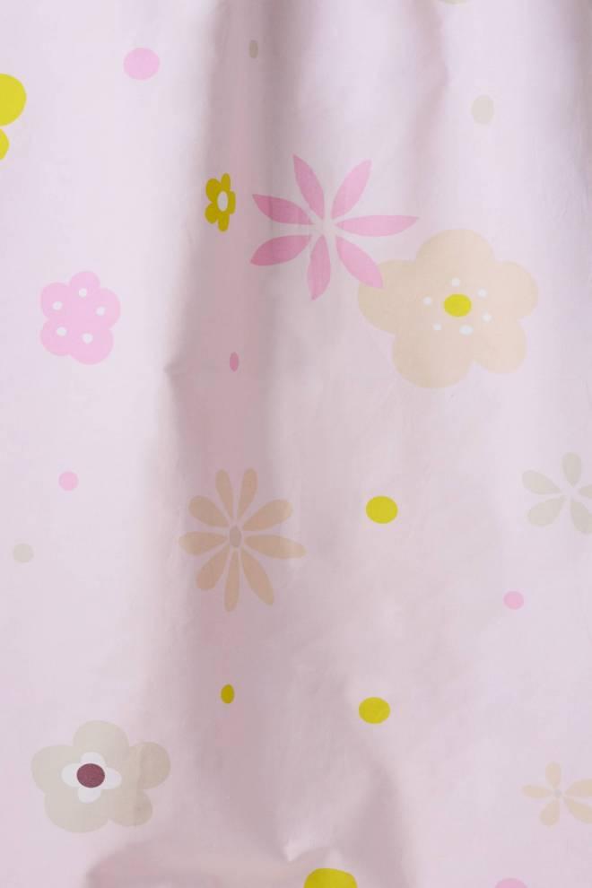 Детско розово перде от памук с цветя