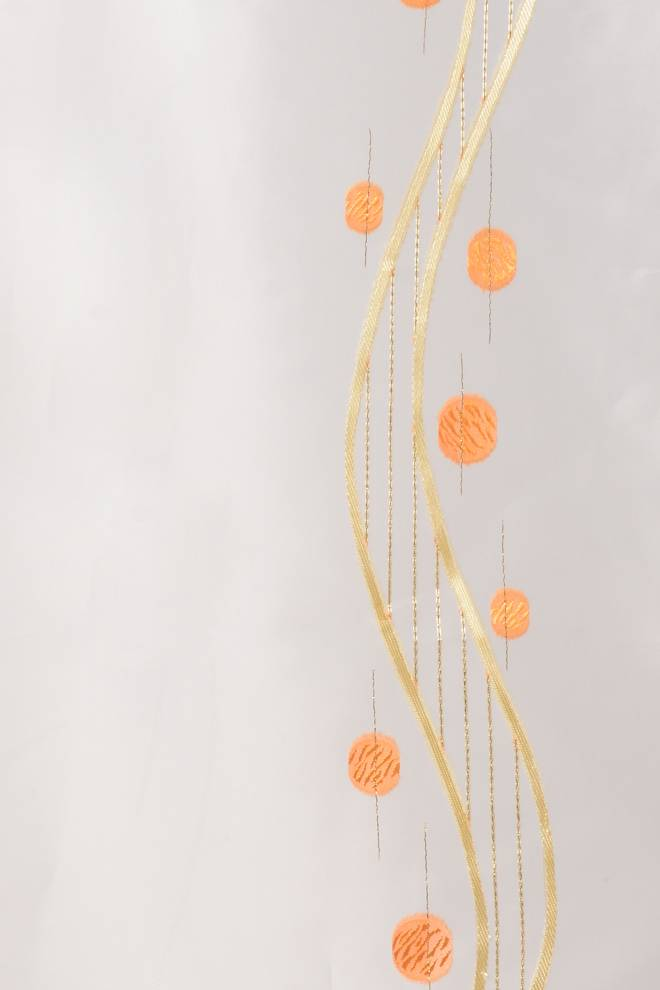 Органза с кръгове и спирали в златистожълто