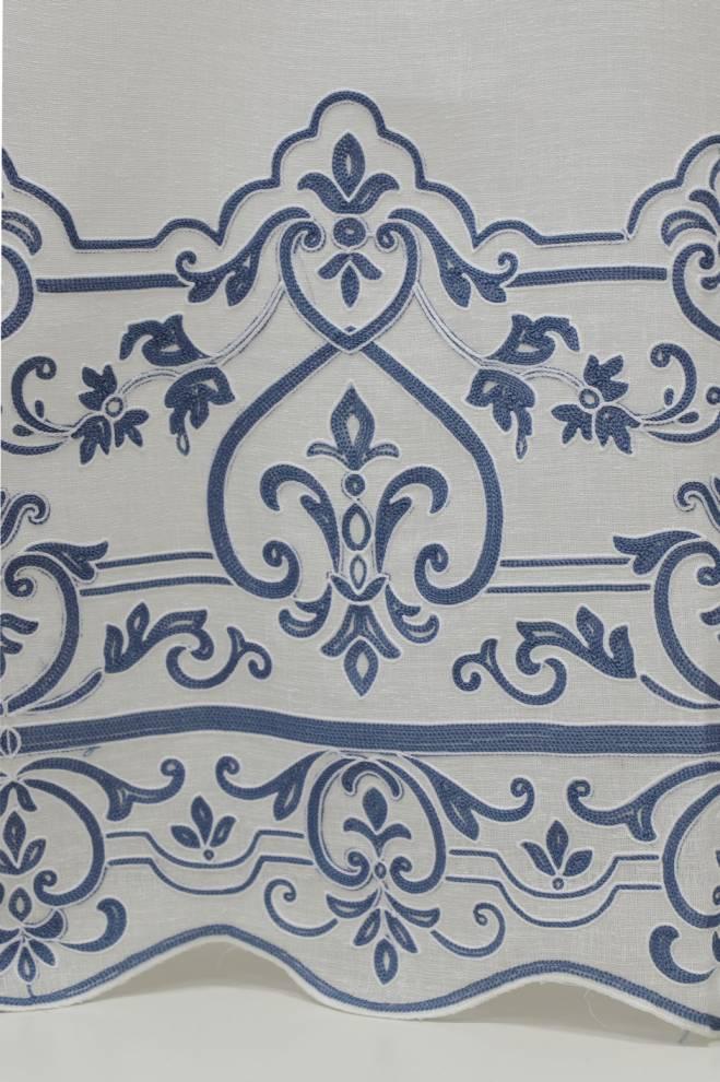 Полупрозрачно перде с ленена текстура и орнаменти